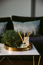 Items On A Table In An Elegant Room.