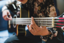 Anonymous Hand On Acoustic Bass
