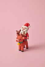 Handcraft Plasticine Santa Claus Ride A North Deer.