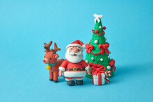 Craft Plasticine Santa Claus With Deer, Tree And Gifts.