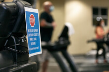 Gym: Sign On Treadmill To Promote Social Distancing