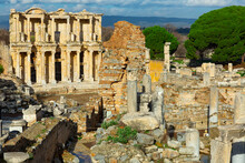 Ruins Of Celsius Library In Ancient City Ephesus. Turkey