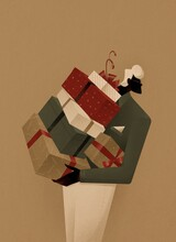 Man With Gift Boxes. Merry Christmas And Happy New Year. Decorative Festive Object.
