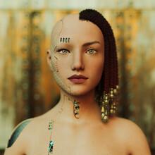 Futuristic Cyborg Woman Cut-away