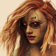 Futuristic Cyborg Woman With Glowing Eyes Wearing Sunglasses
