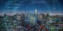 Smart City With Network And Communication Connection - 3d Rendering