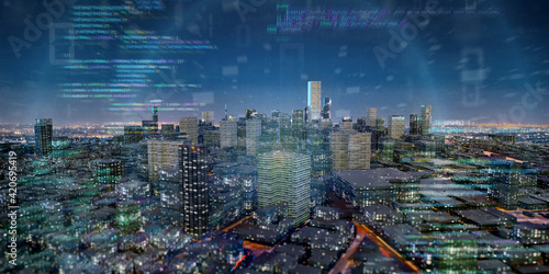 Photo Smart city with network and communication connection - 3d rendering