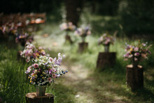 Flower Bouquets Making A Wedding Aisle