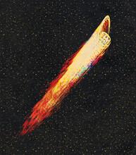 Planet Saturn Flying Like Comet Illustration