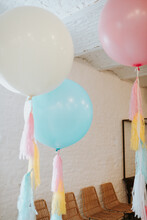 Beautiful Soft Pastel Colored Balloons With Streamers