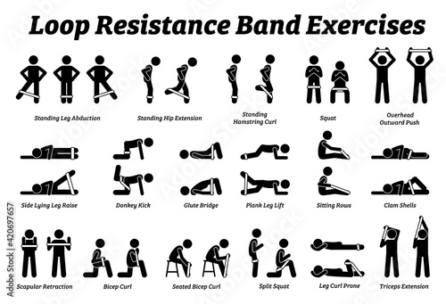 Fotomural Loop resistance mini band exercises and stretch workout techniques in step by step