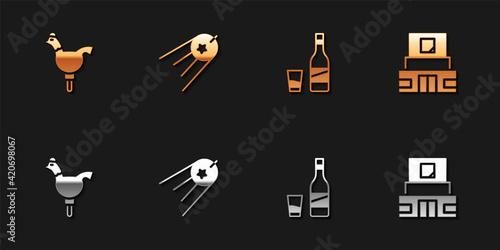 Set Cockerel lollipop, Satellite, Bottle of vodka with glass and Mausoleum Lenin icon Fototapeta