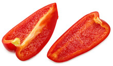 Sliced Red Sweet Bell Pepper Isolated On White Background. Clipping Path