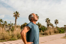 Mature Men Exercise At The Beach Sidewalk