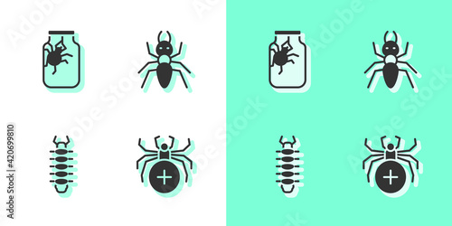 Set Spider, in jar, Centipede and Ant icon. Vector Wallpaper Mural