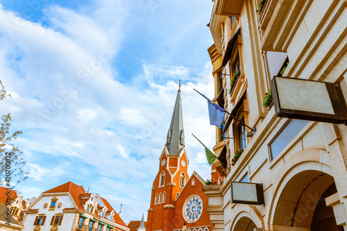 Fotografie, Obraz The corner of the church in Lucerne town