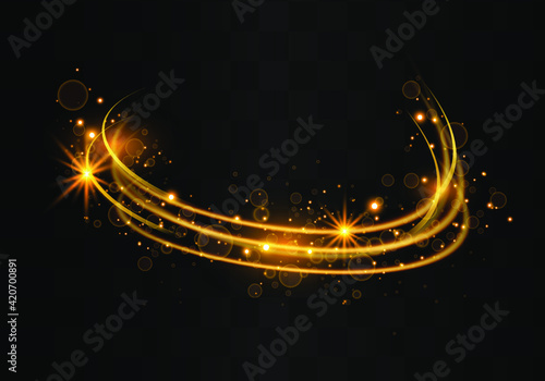 Fototapety, obrazy: Golden sparks glitter special light effect.Sparkling magic dust particles.Cosmic glittering wave