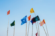 Multiple Flags Rise Above Varanasi In The Sky
