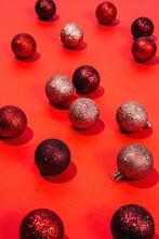 Red Glitter Christmas Balls