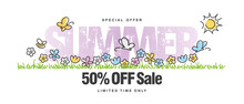 Special Offer Summer Sale 50 % Off With Colorful Spring Flowers Butterflies Tulips Bee In Grass Isolated White Background