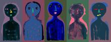 Modern People Dark Illustration - Five People Banner