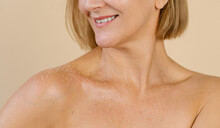 Charming Woman With Body Scrub On Shoulders