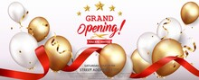 Grand Opening Card Design With Gold And Red Ribbon With Confetti