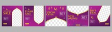 Set Ramadan Sale Square Banner Promotion Template, Ramadan Sale Social Media Post Template Banners Ad. Perfect For Social Media Post.