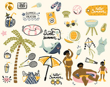 Summer Design Elements And A Set Of Props For A Photo Studio. Palm Tree, Ice Cream, Inflatable Shark Circle, Glasses, Negroes, Children's Pool. Cartoon. Hand Drawing. Vector Illustration, Boho
