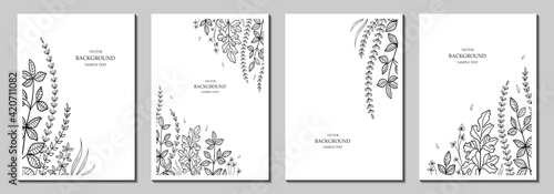 Botanical art. Floral vector templates with leaves, plants. Abstract natural elements. Plant print for holiday posters, greeting cards, backgrounds, covers, banners, invitations. Trendy design