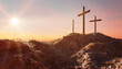 canvas print picture Crucifixion and Resurrection. Three crosses of Golgotha by sunset. Easter or Resurrection concept. He is Risen. Happy Easter.