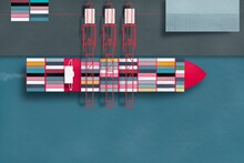 Overhead View Of A Container Ship