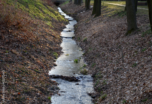 Fotografija flooded stream to a narrow riverbed where the water drains quickly, the bends mu