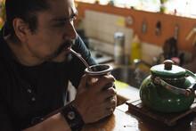 Argentine Man Drinking Mate Tea