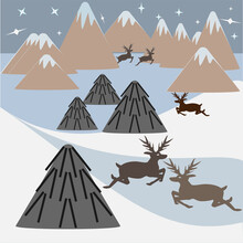 Wild Animals In The North.  Landscape With Snow-capped Mountains And Snowdrifts, Deer And Yurts.  Alaska.  Vector Landscape