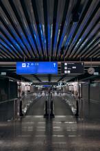 Digital Signboards Over Escalators In Airport