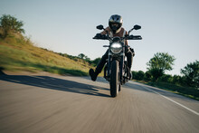 Fast Motorcycle Ride On The Open Road