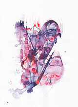 Bird, An Abstract Watercolour/watercolor Painting In Red, Purple And Black
