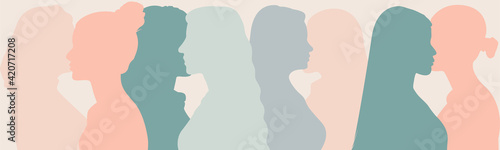 Obraz Silhouette group of multiethnic women and man who talk and share ideas and information. Communication and friendship women or girls of diverse cultures. Women social network community. Speak - fototapety do salonu