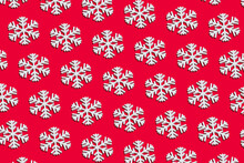 Snowflake Pattern On Red Background