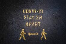 Yellow Covid-19 Social Distancing Warning