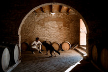 Young Winemaker And His Dog, Inside His Winery In The Countryside