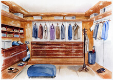 Men's Wardrobe Watercolor Illustration Clothes Walk-in Closet