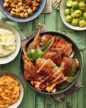 Carved Turkey And Side Dishes