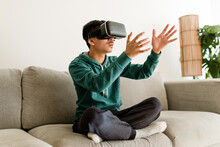 Young Man Experiences VR