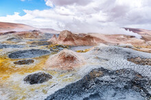 Volcanic Activity With Grey Mud Pits