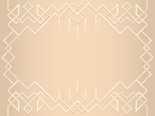 Light Brown Abstract Geometric Ornament. Art Deco Style, Trendy Vintage Design Element. Gold Grill On A White Background. Template With Parallel Lines With Gold Gradient.