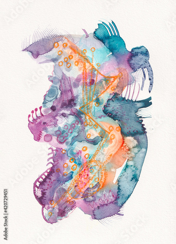 A bright colourful abstract watercolor painting
