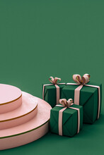 Green And Pink Christmas Gifts On Green Backgroundwith Podium