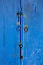 Blue Old Door With Two Keys